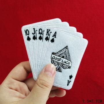 Spielkarte Eisen auf Stickerei Patch Rose