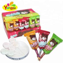 New Arrival Cartoon Design Fruity Flavor Press Bubble Gum Lollipop