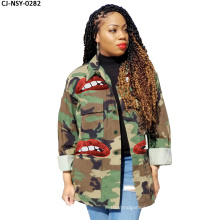 Fancy Good Quality Casual Women Jackets and Coats 2020 Print Camouflage Plus Size Denim Jackets Women