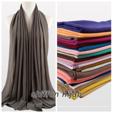 2017 verano mujer color sólido plian musulmán burbuja gasa hijab bufanda mantón maxi hijab instante chal gasa hijab