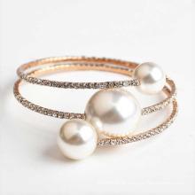 Pulseira de diamante incrível jóias ajustável diamante artificial e pulseira de pérolas