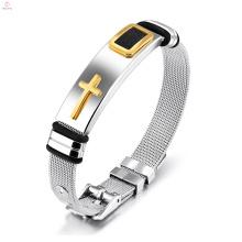 Men Punk Jewelry Statement Bracelet en acier inoxydable Croix bracelets de bracelets