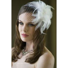 Custom Made Stunning Net Ivory Bird Cage With Feather Flower Wedding Veils