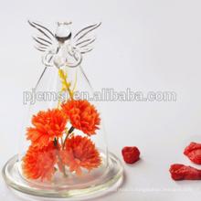 Vase en cristal bon marché de vase en verre d'ange pour des centres de mariage