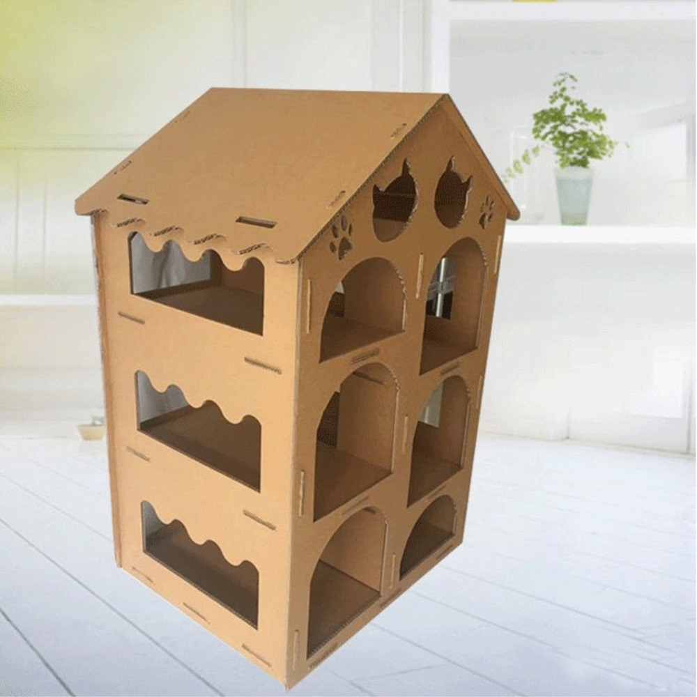 corrugating paper cat house