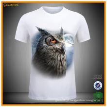 Men's 100% Algodão Casual 3D Animal Impresso T-Shirt