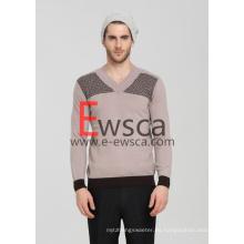 Suéter de cachemira puro Intarsia para hombre