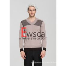 Men′s Intarsia Pure Cashmere Sweater