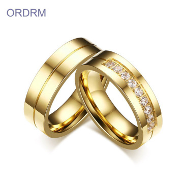 Set Minimalis Stainless Steel Gold Ring Set Perkahwinan Murah