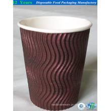 14oz copo de papel de parede ondulado com tampa