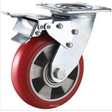 PU moldado em alumínio dupla travão Heavy Duty Caster