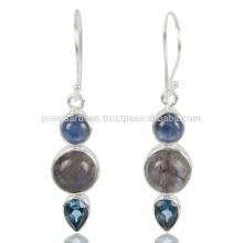 Véritable glossite de kyanite et de topaze bleue suisse à la glande 925 Streling Sliver Earring
