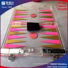 Conjunto de Backgammon de acrílico rosa para jogo de tabuleiro