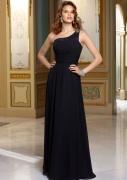 Chiffon Black with Beaded One Shoulder Bridesmaid Dress (BD3006)