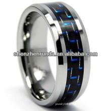 Anel de carboneto de tungstênio preto com incrustações de fibra de carbono, anel de tungstênio preto com fibra de carbono preta azul