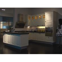 Russland Beliebteste klassische antike weiße Holz Küche Kabinett