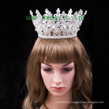 Alta qualidade alta tiara rodada cristal flor design coroa