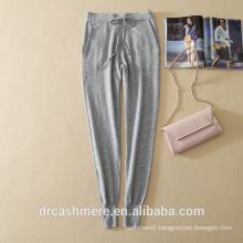 Latest design women pants autumn winter cashmere pants with elastic waist belt