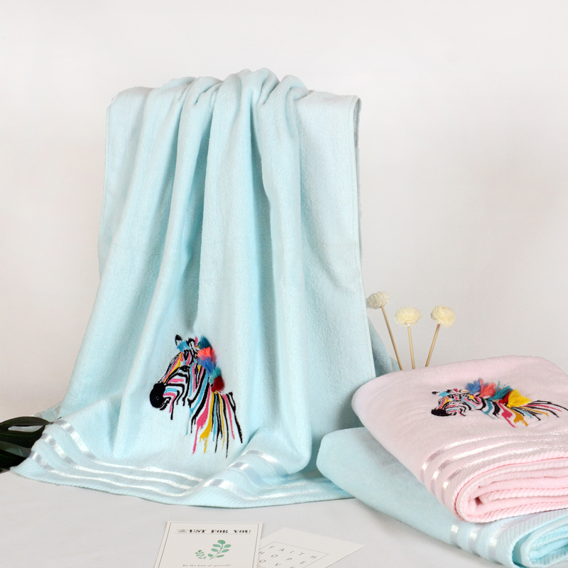 Embroidery velvet cotton towel