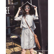 Latest Stripe Round-Neck Women′s Shirt Dress