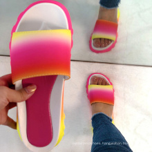 Ready to ship hot sale colorful slides rainbow slippers women fashion slippers