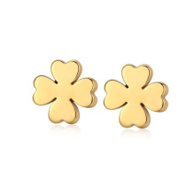 Clover leaf stud earrings for women 14k gold stainless steel ear cuff brincos wholesale