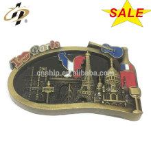 Promotional metal 3D Paris souvenir magnets fridge lapel pins