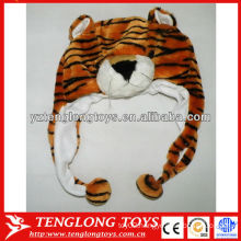 Animal king soft tiger head plush animal hat for winter