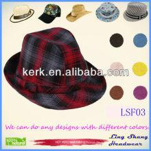 LSF03 Ningbo Lingshang Großhandelspreis Populäre Design Baumwolle Fedora fancy Hut Top Hüte