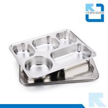 28.2 * 22cm Placa de la bandeja del alimento de la placa del almuerzo de escuela del acero inoxidable de la alta calidad 304