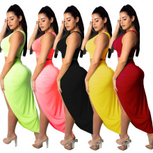 New Season Design Solid Color One Shoulder Tube Top Split Hem Sexy Fashion Basic Ladies Plus Size 2 Piece Dress Set for Women