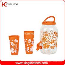 1 galón de té solar de plástico jarra de agua (vidrio y material para mascotas) al por mayor BPA libre con Spigot y cuatro tazas (KL-8007)