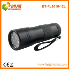 Factory Supply 3aaa Battery Used Aluminium Black 12 led custom made metal led flashlight with Wrist Strap