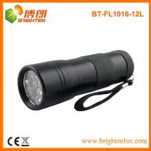 Fonte de Fábrica 3aaa bateria Usado alumínio preto 12 conduziu feito de metal levou lanterna com alça de pulso
