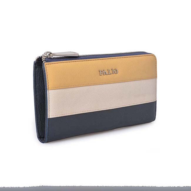 Attractive contrast color high quality patent leather wallet for women