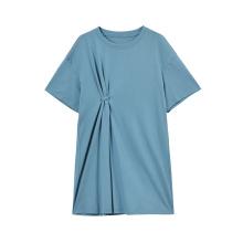 Женское модное хлопковое эластичное платье-футболка с коротким рукавом