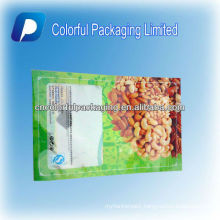 750g/Bottom opening/Plastic/Zipper/Nuts/Dry fruits Bag/Pouch With Hang Hole&Food &Window&Tear Notch packing for nuts