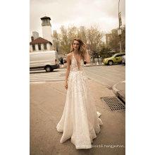 Sexy Deep V Neck Backless Prom Bridal Wedding Dress