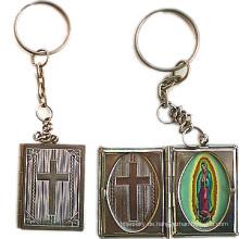 Kupfer-Bibel-Buch geformtes Locket Keychain Religiöses Keychain