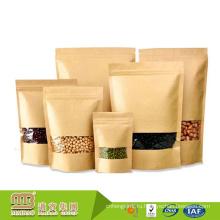 Гуанчжоу Изготовленный На Заказ Напечатанный 100% Пищевой Сорт Бумажные Мешки Kraft С Ясным Окном И Застежкой-Молнией Для Упаковки Еды Сушеные