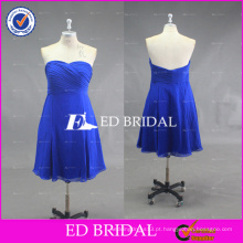 Custom Made Blue Sweetheart A Line Ruffle Chiffon Vestido de dama de honra curto 2016