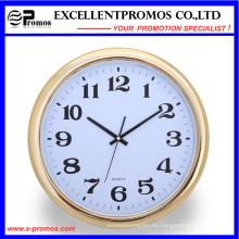 Marco de oro de impresión de logotipo redondo reloj de pared de plástico (item23)