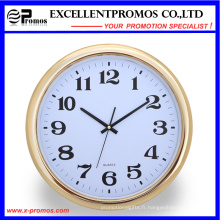 Gold Frame Logo Impression ronde en plastique Wall Clock (Item23)