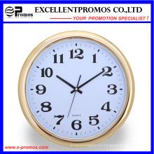 Золотая рамка печать логотипа Круглые пластиковые настенные часы (Item23)