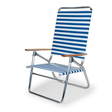 Blue White Stripe Folding Beach Arm Chair