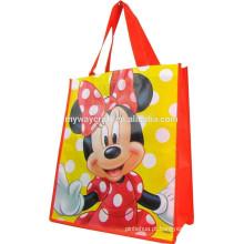 Minnie Face Bolsa de compras reciclada saco não tecido
