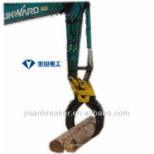 La pinza hidráulica KOBELCO SK100 SK115, pinza del accesorio del excavador, pinza de registro de madera