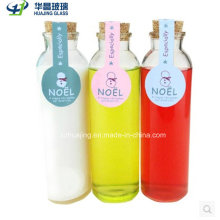 Popular 350ml Cylinde Glass Cold Juice Bottle with Wood Cap