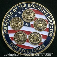 Moedas feitas sob encomenda baratas do desafio do metal do exército dos EUA do esmalte