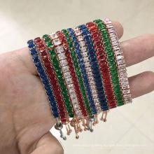 Popular full diamond adjustable square color zircon bracelet